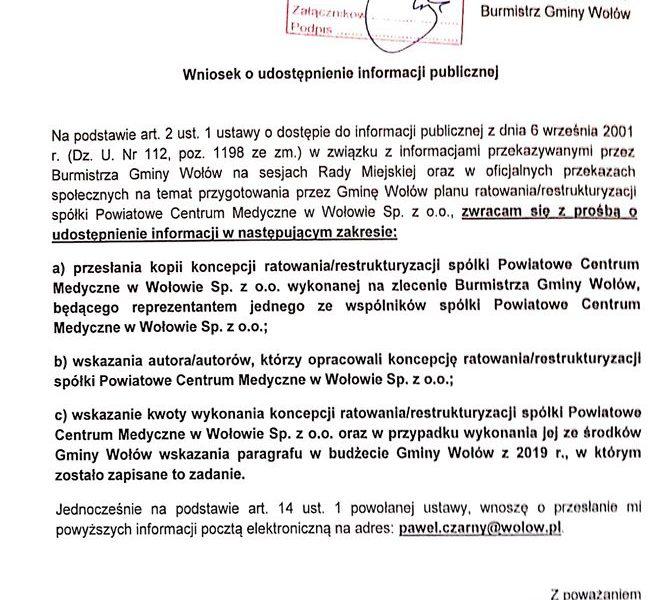 WNIOSEK O UDOSTĘPNIENIE KONCEPCJI RATOWANIA/RESTRUKTURYZACJI SPÓŁKI PCM Sp. z o.o.